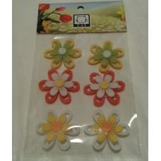 Pašlīmējošie ziedi, filcs, dažādās krāsās, II, 6 gab.